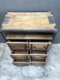 Stoer houten industrieel landelijk kastje kast ladenkast ladekast commode tvkast televisie Sidetable metaal hout 6 laden halkastje