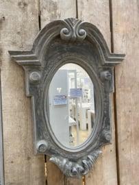 Prachtige grote Houten spiegel spiegeltje osseoog ossenoog oeil de boeuf landelijk antraciet grijs vergrijsd hout