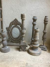 vergrijsd houten kandelaar los kandelaars ornamenten ornamentjes los grijs vergrijsd hout landelijk stoer