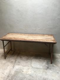 Stoere landelijke houten metalen Sidetable bureau buro klaptafel 153 x 60 x H74 cm markttafel industrieel landelijk klaptafel