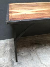 Oude landelijke industriële eettafel tuintafel klaptafel markttafel  werkbank werktafel 120 x 70 cm oud vintage stoer