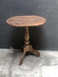 Ovaal houten wijntafel wijntafeltje bijzettafel bijzettafeltje landelijk 60 x 43 cm