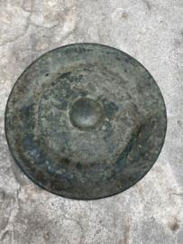 Antiek bronzen gong rond wandornament 60 cm eye-catcher wandpaneel brons landelijk stoer industrieel