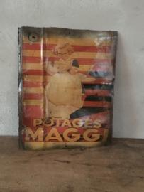 Metalen reclame platen plaat reclamebord Maggi  vintage retro industrieel