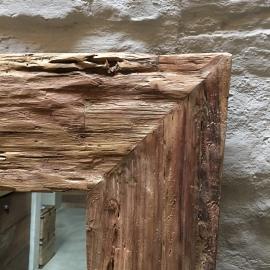 Grove teakhouten spiegel robuust landelijk grof hout groot 140 X 80 cm teakhout vintage