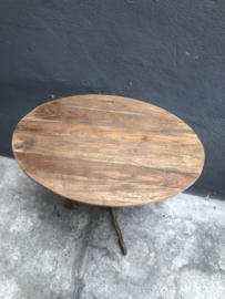 Ovaal houten wijntafel wijntafeltje bijzettafel bijzettafeltje landelijk 61 x 41 cm