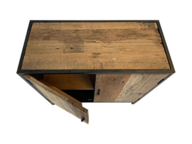 Stoere kast 2 deurtjes 2 deurs met legplank  industrieel landelijk dressoir kastje Sidetable grof Railway hout