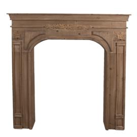 Mooie houten schouw voorzetschouw open haard kachel hout 102 x 13 x 103 cm landelijk
