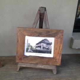 Sloophouten teakhouten houten standaard boekenstandaard foto fotolijst ezel