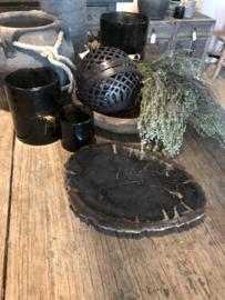 Prachtige  unieke oeroude versteend houten schaal hout zwartgrijs stoer landelijk bijzonder