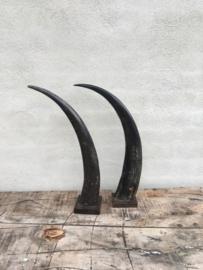 Grote zwart grijs zwarte grijze hoorn 50 cm op voet staand ornament