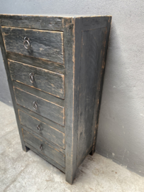 Oud zwart houten kast kastje oud hout 5 ladenkast ladekast keukenkast halkastje landelijk industrieel