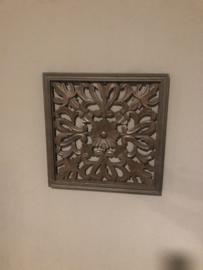 Stoer landelijk oud houten wandpaneel 45 x 45 cm naturel bruin wandornament wanddecoratie hout panelen luiken