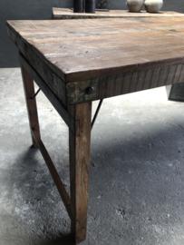 Oude landelijke industriële eettafel naturel 220 x 80 cm hout houten Sidetable bureau buro tuintafel klaptafel werkbank werktafel oud vintage stoer