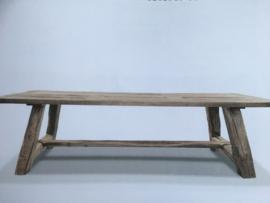 Massieve vergrijsd eiken tafel boerentafel 280 x 100 x H77 cm kloostertafel landelijk robuust stoer eettafel