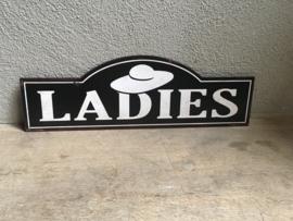 Nostalgische deurbordjes deur toilet wc bordje metaal metalen dames meisjes vrouwen ladies tekstbord naambord plaatje wc toilet bord