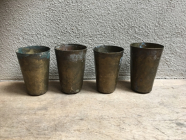 Oude koperen beker drinkbeker mok kom vintage kandelaar theelichtje