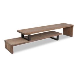 Stoer houten tv-meubel dressoir sidetable teak teakhouten metalen poten televisiekast kast wandmeubel landelijk industrieel 160/300 x  40 x 40 cm