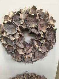 Prachtige vergrijsde krans palm cup wreath grey 80 cm
