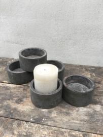 Houten bakje grey grijs bakje schaaltje kandelaar kaarsbakje kaartbakje kaarsenstandaard landelijk