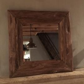 Grof oud teakhouten spiegel robuust 60 X 60 cm landelijk robuust teakhout