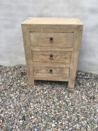 Licht naturel houten kast kastje dressoir sidetable ladenkast ladekast 3 lades landelijk