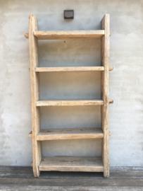 Grote stoere oud houten kast schap 210 x 115 cm rek stoer robuust boekenkast keukenkast landelijk industrieel