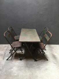 Oude metalen klaptafel klaptafels tafel tafeltje sidetable sideboard werktafel 111 x 55 x H70 cm roestbruin bruin bureau tuintafel buro industrieel stoer landelijk vintage