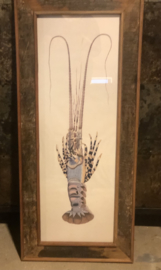Stoer groot houten fotolijst schilderij 107 x 46 cm prent schilderij landelijk stoer grote lijst vintage
