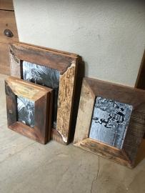 Oude houten Fotolijst fotolijstje sloophout landelijk vintage oud hout