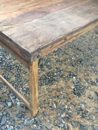 Stoere oude houten eettafel tuintafel 220 x 90 x 76 cm sidetable buro bureau klaptafel doorleefd industrieel markttafel landelijk hout metaal