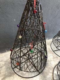 Kleine vrolijk gekleurd kerstballetjes aan sari touw vintage 12 stuks in zakje nkuku