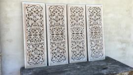Stoer landelijk oud houten wandpaneel 90 x 30 cm wit whiteoff white-off zand wandornament wanddecoratie hout panelen luiken