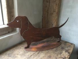 Plaatstalen plaatstaal fred de teckel tekkel hond hondje ijzer metaal roest beeld landelijk brocant metalen ijzeren