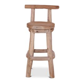 Robuust houten barkruk kruk met rugleuning barkrukken grof hout stronk zithoogte 76 cm landelijk stoer
