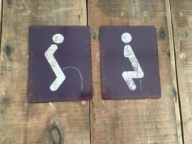 Set van 2 deurbordjes deur bordje naambordjes dames heren women men plaatje wc toilet gietijzer gietijzeren