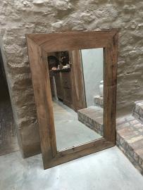 Landelijke grote sobere houten spiegel doorleefd vergrijsd boeren oud hout 120 X 80 stoer robuust sober