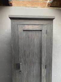 Mooie grote hoge kast  220 x 90 x 54cm keukenkast zwart hout landelijk stoer industrieel