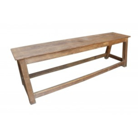 Stoere houten bank 130 cm eettafelbank bankje tuinbank landelijk stoer industrieel