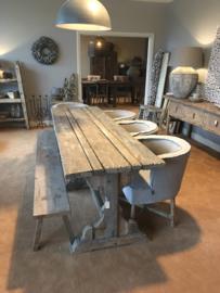 Hele stoere grove vergrijsd houten tafel eettafel 245 x 74 cm sidetable stoer landelijk robuust geleefd