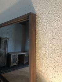 Groot vierkant bruin/roest metalen stalraamspiegel 118 cm vierkante stalraam kozijn venster tuinspiegel spiegel kozijn venster landelijk industrieel vintage
