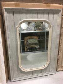 Prachtige grote houten spiegel 110 x 80 cm beige grijs landelijk houten sierlijst