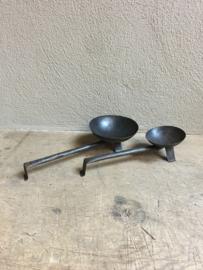 Metalen kandelaar stompkaars theelicht vintage metaal industrieel schep lepel standaard industrieel