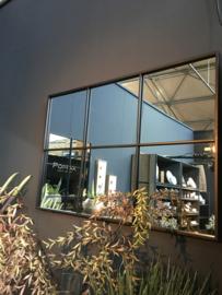 Groot zwart metalen stalraamspiegel 118 x 80 cm rechthoekig stalraam kozijn venster tuinspiegel spiegel zwart kozijn venster landelijk industrieel vintage