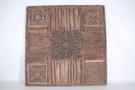 Groot houten Wandpaneel 90 x 90 cm vergrijsd doorleefd boomschors oud hout landelijk stoer vintage