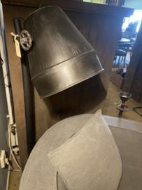 Zwarte Industrieel industriële stoere metalen metaal zinken zink lamp Staande vloerlamp 130 cm vintage landelijk grijs stoer metaal