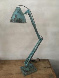 Industriële metalen tafellamp bureaulamp wandlamp knikarm grijs turquoise Turkois groen blauw oud landelijk vintage