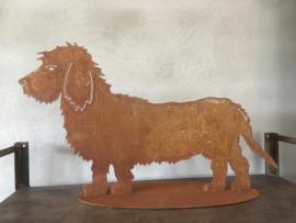 Plaatstalen plaatstaal bram de ruwharige ruwhaar draadhaar draadharige teckel tekkel hond hondje ijzer metaal roest beeld landelijk brocant metalen ijzeren