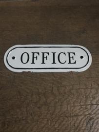 Gietijzeren plaatje emaille deur office kantoor bordje deurbordje naambordje landelijk nostalgisch  industrieel grootmoederstijd brocant