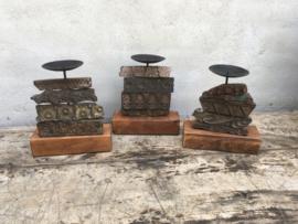 Houten kandelaar kandelaars gemaakt van oude blok prints blockprints stempels textielstempels vintage landelijk industrieel